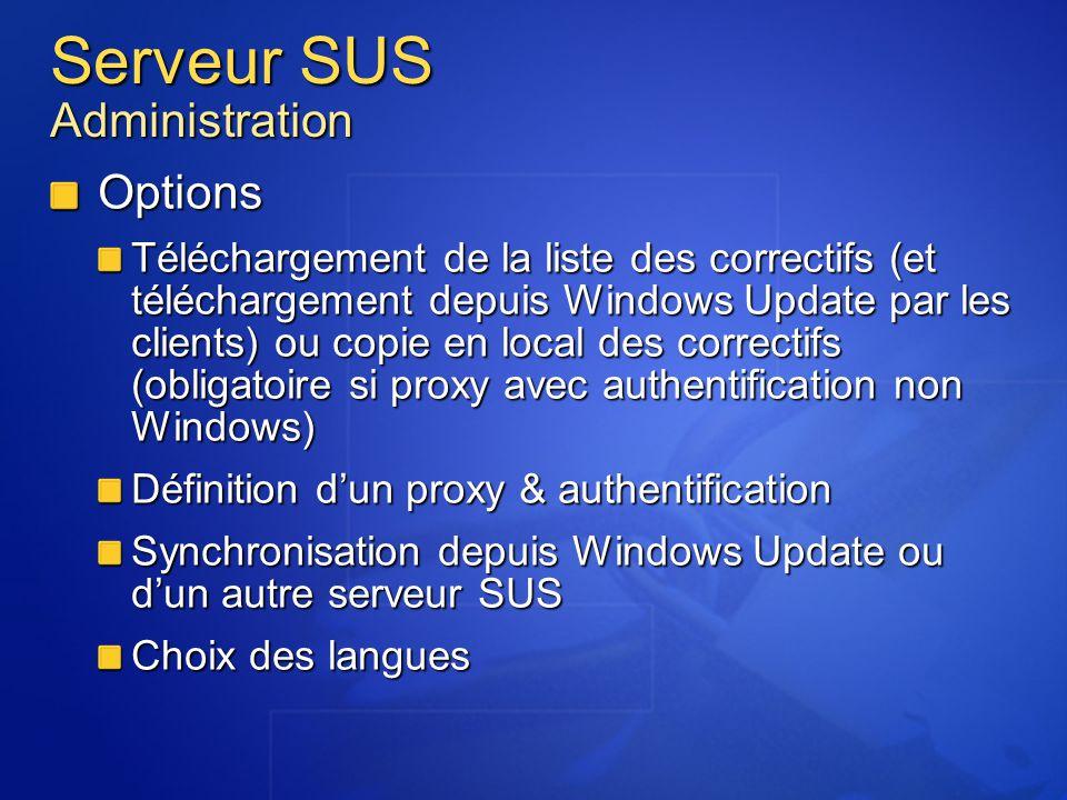 Serveur SUS Administration Options Téléchargement de la liste des correctifs (et téléchargement depuis Windows Update par les clients) ou copie en loc