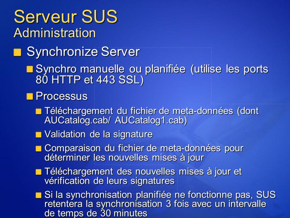 Serveur SUS Administration Synchronize Server Synchro manuelle ou planifiée (utilise les ports 80 HTTP et 443 SSL) Processus Téléchargement du fichier