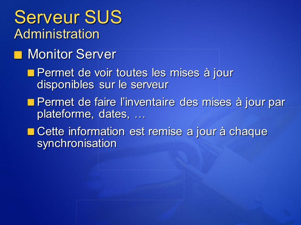 Serveur SUS Administration Monitor Server Permet de voir toutes les mises à jour disponibles sur le serveur Permet de faire linventaire des mises à jo