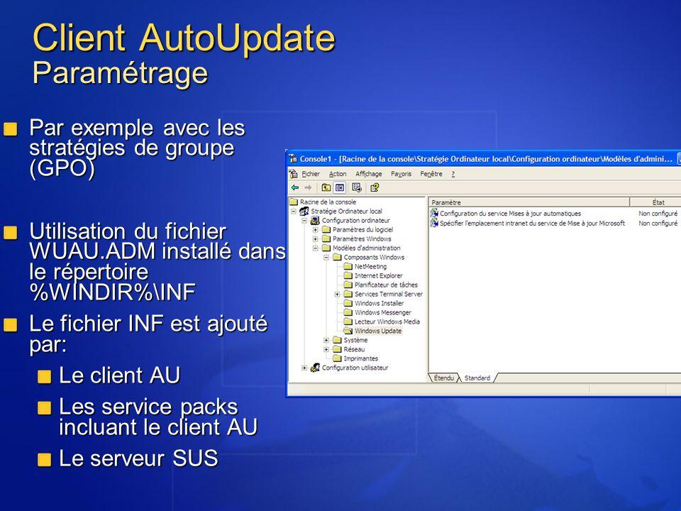 Client AutoUpdate Paramétrage Par exemple avec les stratégies de groupe (GPO) Utilisation du fichier WUAU.ADM installé dans le répertoire %WINDIR%\INF