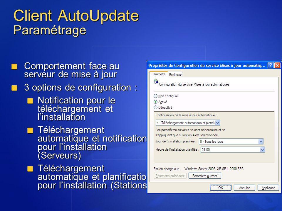 Client AutoUpdate Paramétrage Comportement face au serveur de mise à jour 3 options de configuration : Notification pour le téléchargement et linstall