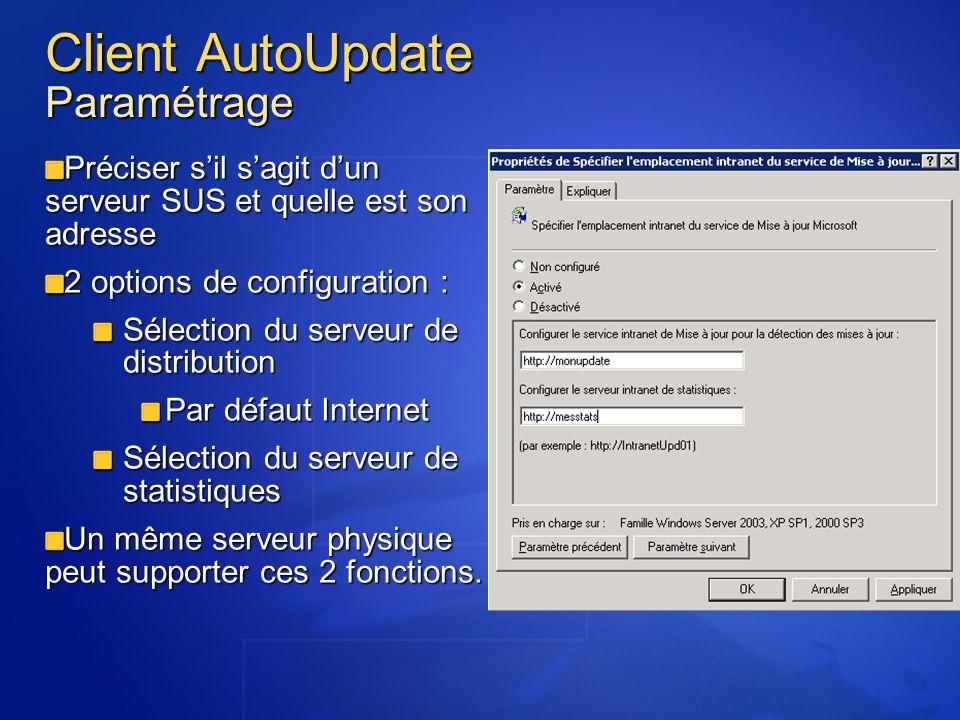 Client AutoUpdate Paramétrage Préciser sil sagit dun serveur SUS et quelle est son adresse 2 options de configuration : Sélection du serveur de distri