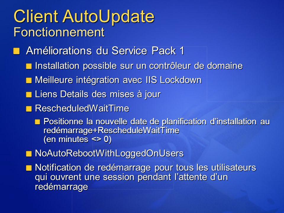 Client AutoUpdate Fonctionnement Améliorations du Service Pack 1 Installation possible sur un contrôleur de domaine Meilleure intégration avec IIS Loc