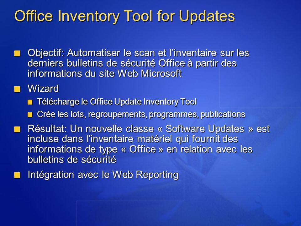 Office Inventory Tool for Updates Objectif: Automatiser le scan et linventaire sur les derniers bulletins de sécurité Office à partir des informations