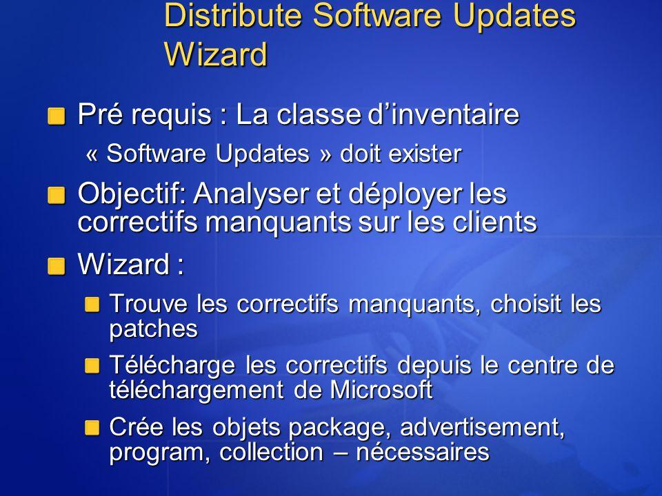 Distribute Software Updates Wizard Pré requis : La classe dinventaire « Software Updates » doit exister Objectif: Analyser et déployer les correctifs