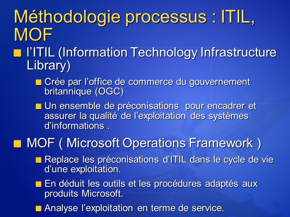 Méthodologie processus : ITIL, MOF lITIL (Information Technology Infrastructure Library) Crée par loffice de commerce du gouvernement britannique (OGC