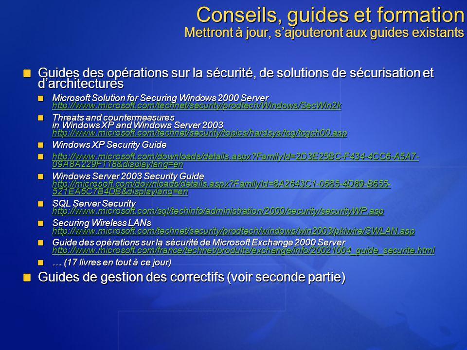 Conseils, guides et formation Mettront à jour, sajouteront aux guides existants Guides des opérations sur la sécurité, de solutions de sécurisation et