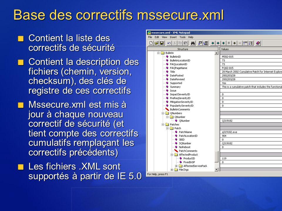 QChain Outil de commande qui permet de « chaîner » linstallation de correctifs Limite lindisponibilité des serveurs (un seul redémarrage) Permet une installation simple et rapide de plusieurs correctifs simultanément Fonctionne avec NT4, Windows 2000 pre- SP3