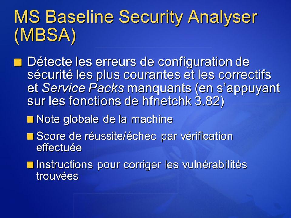 Fonctionnement pour la recherche de correctifs manquants Importe la liste des correctifs de sécurité (base XML) Compressée : http://download.microsoft.com/download/xml/security/1.0/NT5/EN- US/mssecure.cab http://download.microsoft.com/download/xml/security/1.0/NT5/EN- US/mssecure.cab http://download.microsoft.com/download/xml/security/1.0/NT5/EN- US/mssecure.cab Brute : (http://www.microsoft.com/technet/security/search/mssecure.xml) http://www.microsoft.com/technet/security/search/mssecure.xml Vérifie que les clés de registre ont été installées Vérifie pour chaque correctif que tous les fichiers sont présents Vérifie le numéro de version de chaque fichier et les checksums (pour les versions anglaises seulement)