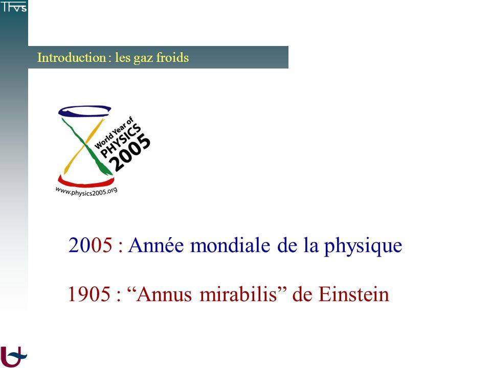 Introduction : les gaz froids 1905 : Annus mirabilis de Einstein 2005 : Année mondiale de la physique