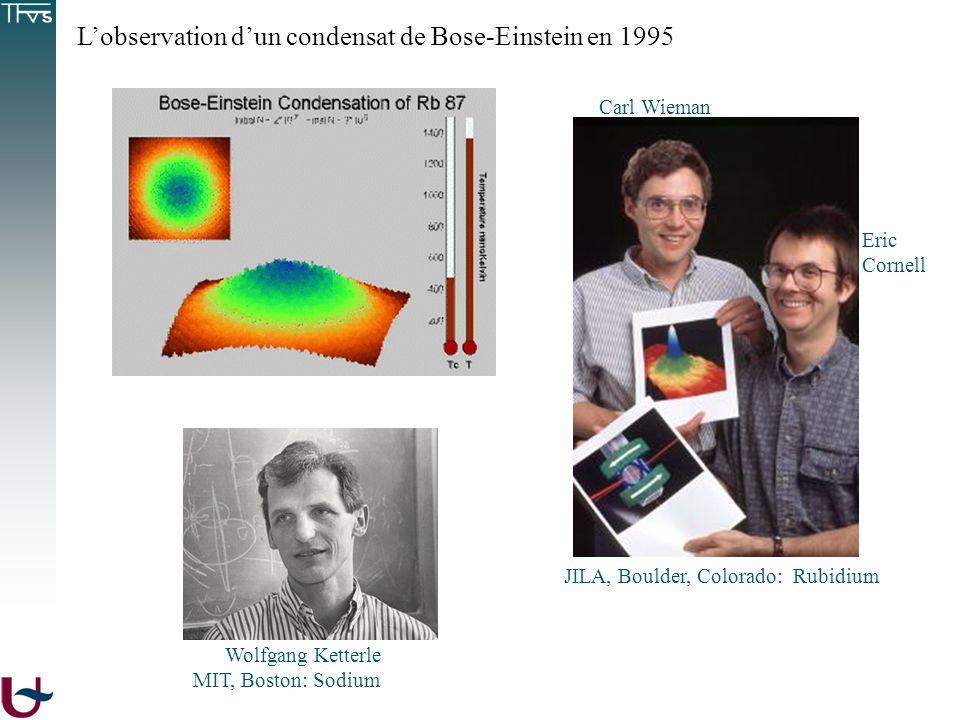 Lobservation dun condensat de Bose-Einstein en 1995 Eric Cornell Carl Wieman JILA, Boulder, Colorado: Rubidium Wolfgang Ketterle MIT, Boston: Sodium