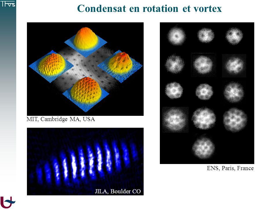 ENS, Paris, France MIT, Cambridge MA, USA JILA, Boulder CO Condensat en rotation et vortex