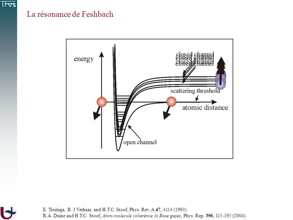 La résonance de Feshbach E. Tiesinga, B. J.Verhaar, and H.T.C. Stoof, Phys. Rev. A 47, 4114 (1993). R.A. Duine and H.T.C. Stoof, Atom-molecule coheren