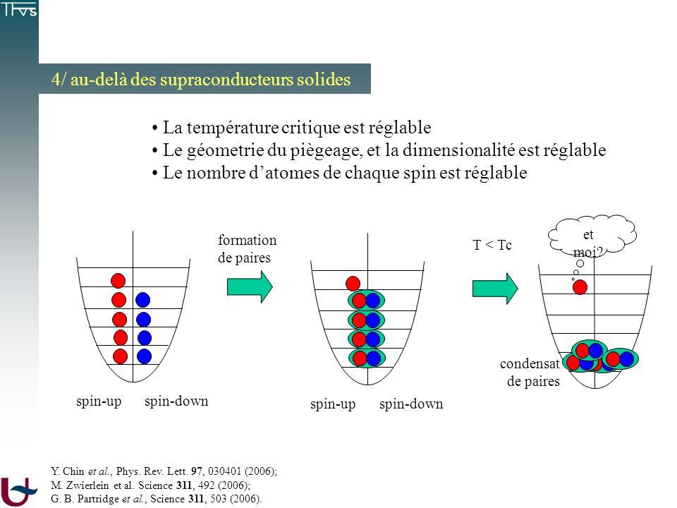 4/ au-delà des supraconducteurs solides La température critique est réglable Le géometrie du piègeage, et la dimensionalité est réglable Le nombre dat