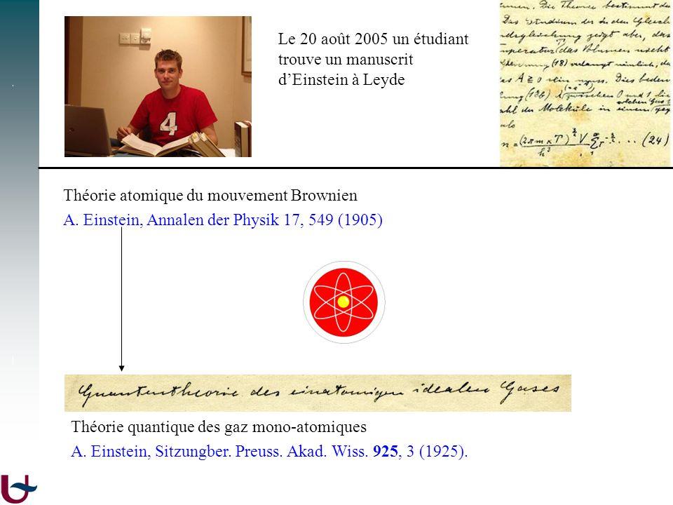 Le 20 août 2005 un étudiant trouve un manuscrit dEinstein à Leyde Théorie atomique du mouvement Brownien A. Einstein, Annalen der Physik 17, 549 (1905