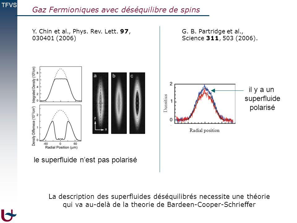 TFVS Gaz Fermioniques avec déséquilibre de spins Y. Chin et al., Phys. Rev. Lett. 97, 030401 (2006) G. B. Partridge et al., Science 311, 503 (2006). i