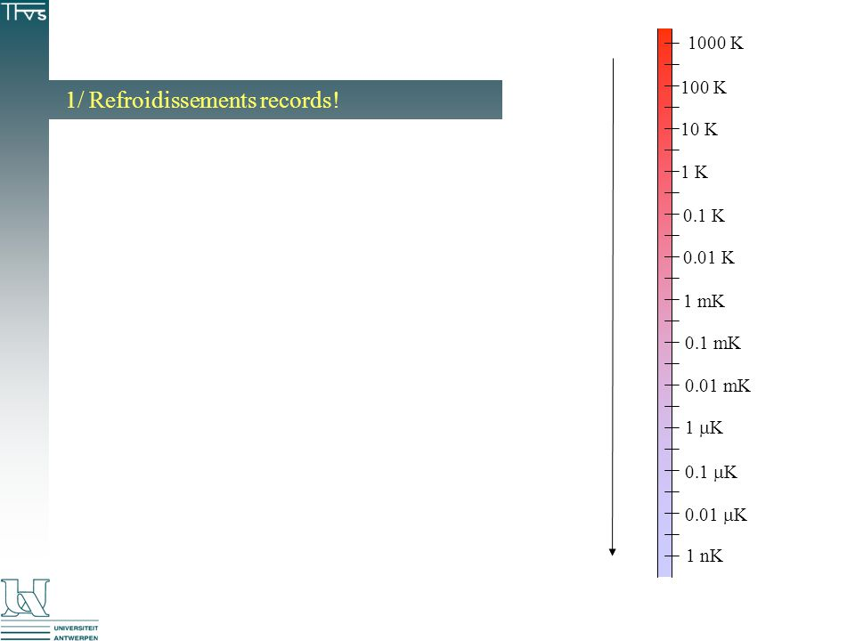 1/ Refroidissements records! 1000 K 100 K 10 K 1 K 0.1 K 0.01 K 1 mK 0.1 mK 0.01 mK 1 K 1 nK 0.1 K 0.01 K