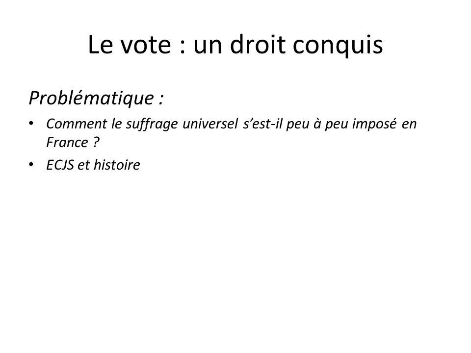 Le vote : un droit conquis Problématique : Comment le suffrage universel sest-il peu à peu imposé en France ? ECJS et histoire