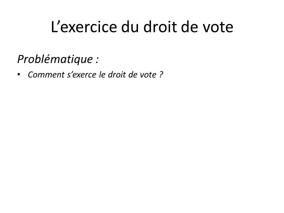 I – VOTER POUR UN ELU, ÊTRE ELU : LA QUESTION DU CHOIX DEMOCRATIQUE DANS UNE SOCIETE DE LIBERTES A – POUR VOTER, IL FAUT : -avoir la nationalité française -réaliser des démarches : le recensement qui permet linscription sur les listes électorales -être majeur : avoir 18 ans B – POUR ÊTRE ELU, IL FAUT : -être choisi par des électeurs -majeur, de nationalité française -Convaincre les électeurs C – EGALITE DE VOTE ET PARITE DES SEXES -Hommes et femmes sont théoriquement égaux MAIS dans la pratique en France, les femmes sont sous-représentées DONC il y a inégalité de la représentation des sexes dans les assemblées représentatives.