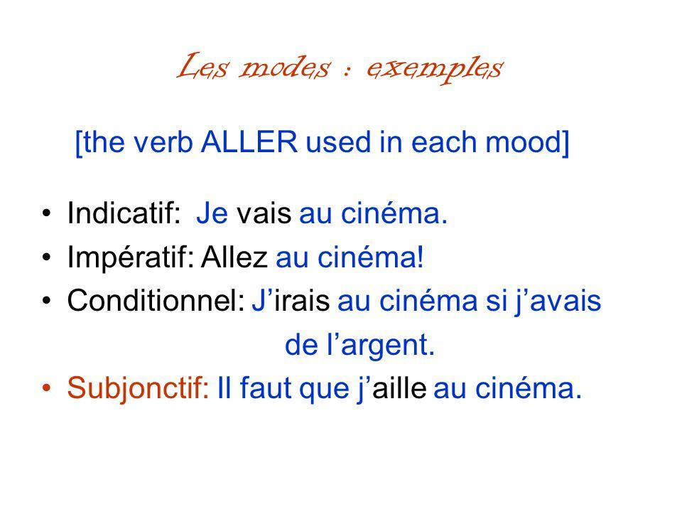 Les modes : exemples [the verb ALLER used in each mood] Indicatif: Je vais au cinéma. Impératif: Allez au cinéma! Conditionnel: Jirais au cinéma si ja
