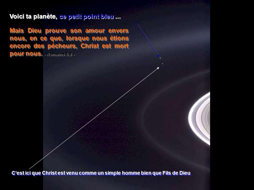 Héla aquí, pues: Photo prise par Cassini-Huygens en 2004, par une navette spatiale automatique lorsquelle atteignit les anneaux de Saturne. LEternel e
