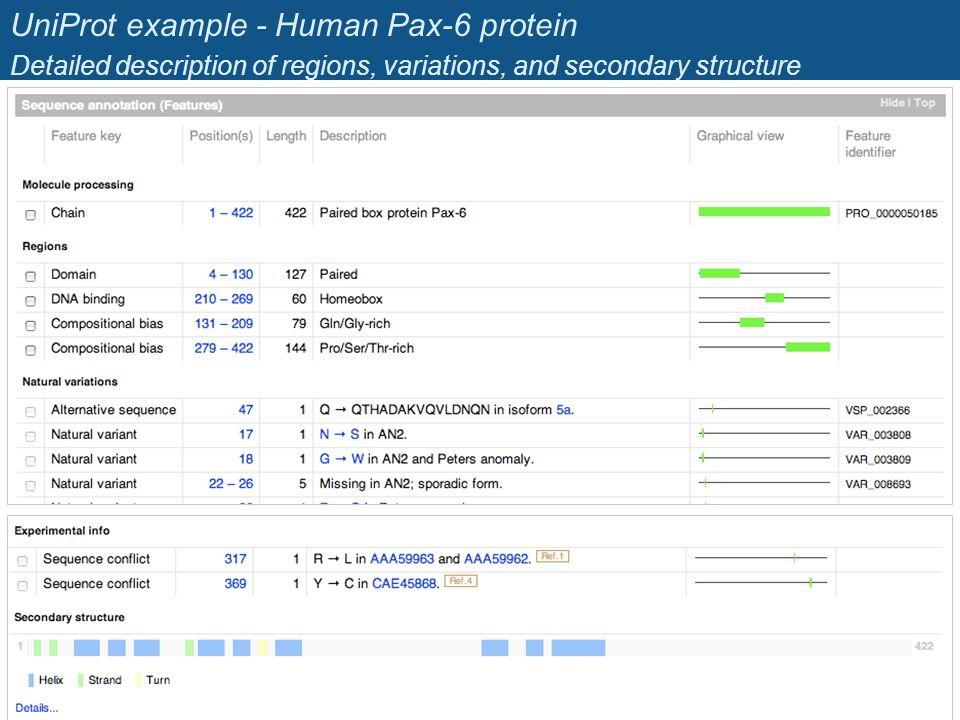 UniProt example - Human Pax-6 protein Detailed description of regions, variations, and secondary structure 28 Jacques van Helden Jacques.van- Helden@u