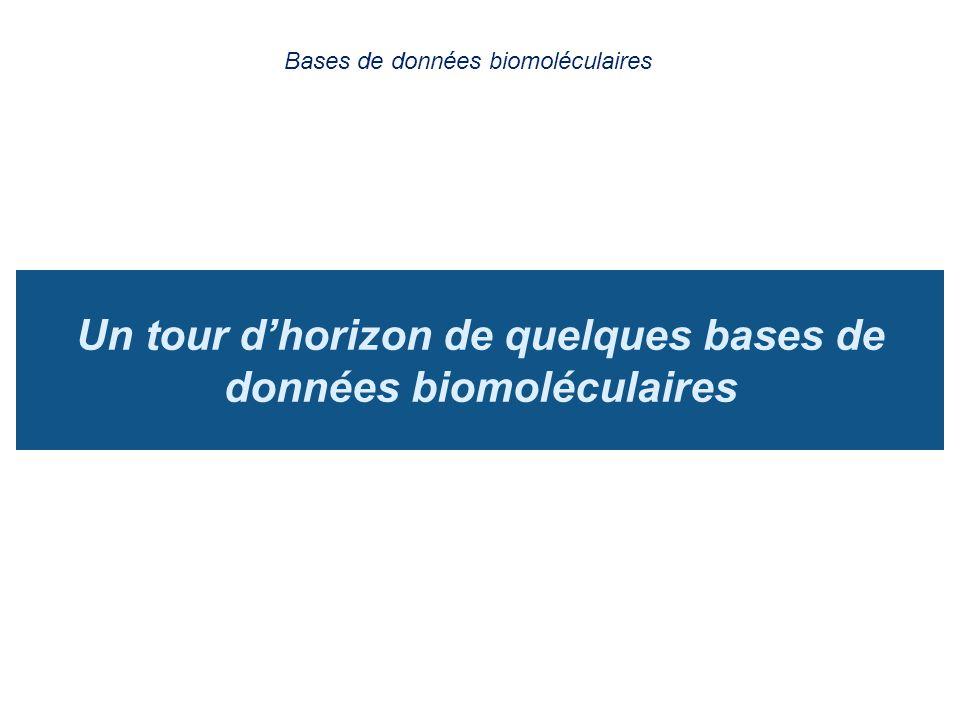 Un tour dhorizon de quelques bases de données biomoléculaires Bases de données biomoléculaires