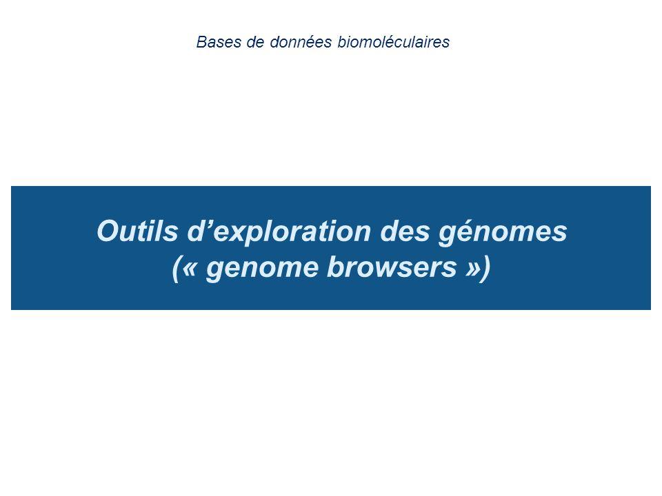 Outils dexploration des génomes (« genome browsers ») Bases de données biomoléculaires