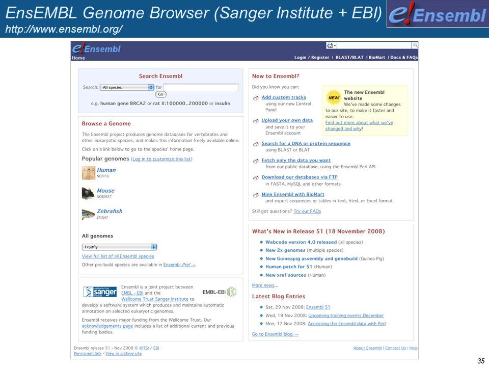 EnsEMBL Genome Browser (Sanger Institute + EBI) http://www.ensembl.org/ 35