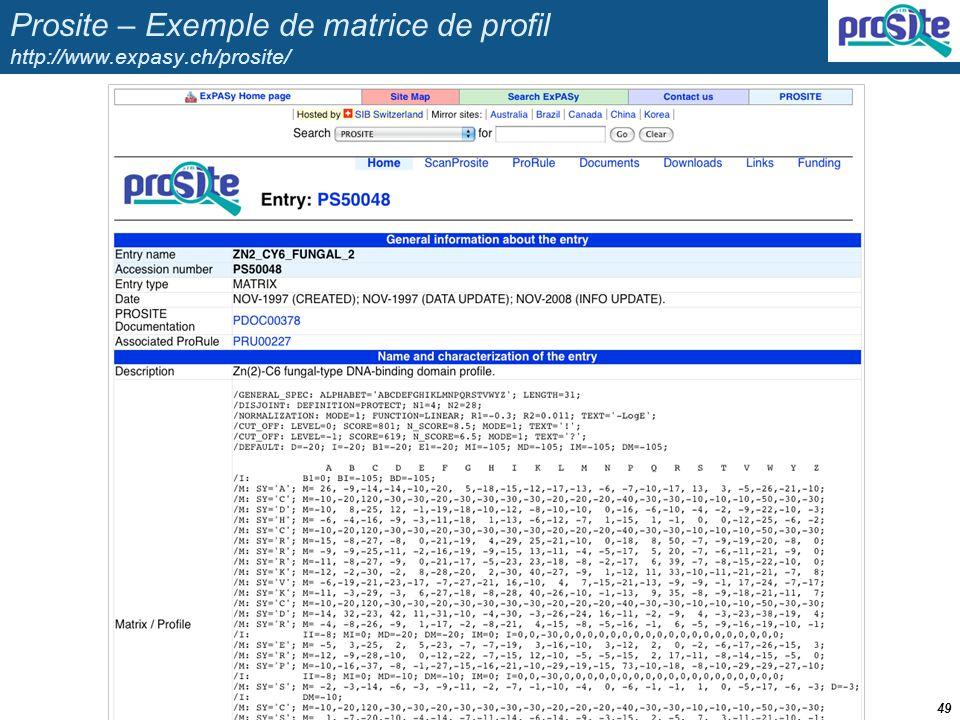 Prosite – Exemple de matrice de profil http://www.expasy.ch/prosite/ 49