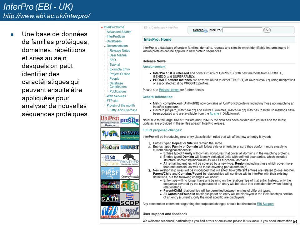 InterPro (EBI - UK) http://www.ebi.ac.uk/interpro/ Une base de données de familles protéiques, domaines, répétitions et sites au sein desquels on peut