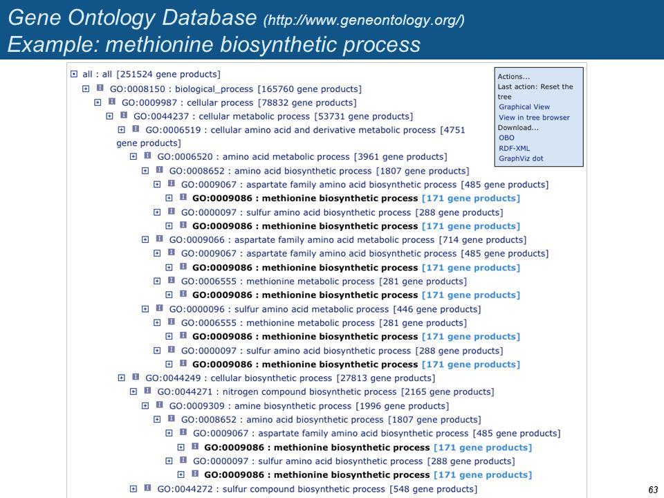 Gene Ontology Database (http://www.geneontology.org/) Example: methionine biosynthetic process 63
