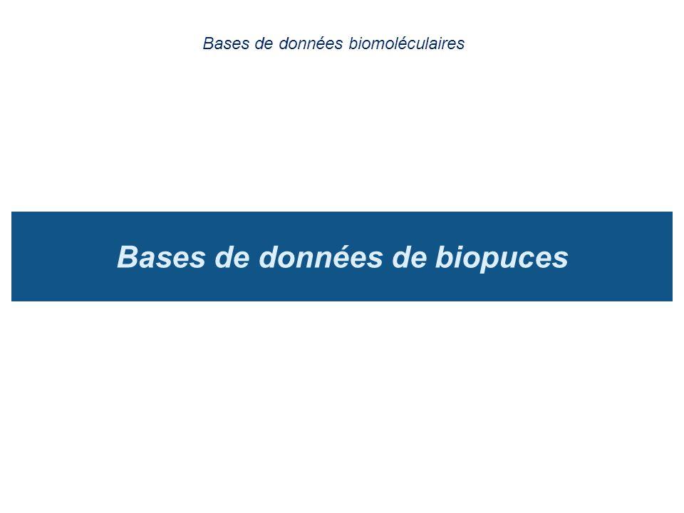 Bases de données de biopuces Bases de données biomoléculaires
