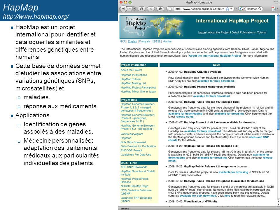 HapMap http://www.hapmap.org/ HapMap est un projet international pour identifier et cataloguer les similarités et différences génétiques entre humains