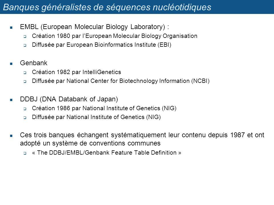 Banques généralistes de séquences nucléotidiques EMBL (European Molecular Biology Laboratory) : Création 1980 par lEuropean Molecular Biology Organisa