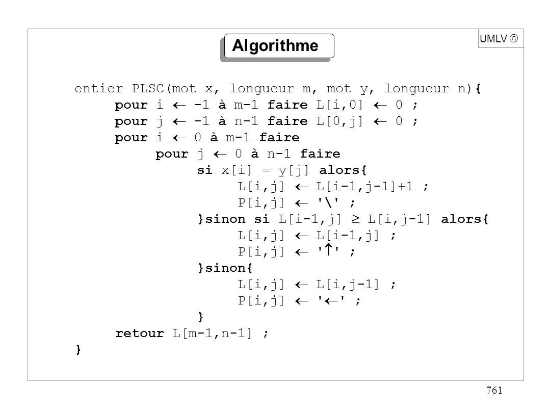 761 UMLV entier PLSC(mot x, longueur m, mot y, longueur n){ pour i -1 à m-1 faire L[i,0] 0 ; pour j -1 à n-1 faire L[0,j] 0 ; pour i 0 à m-1 faire pou
