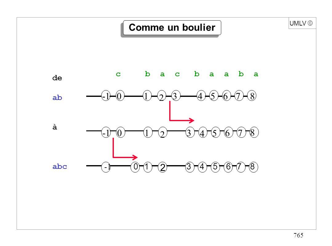 765 Comme un boulier UMLV 01 2 3 4 5 67 8 01 2 345678 01 2 345678 de ab à abc c b a c b a a b a