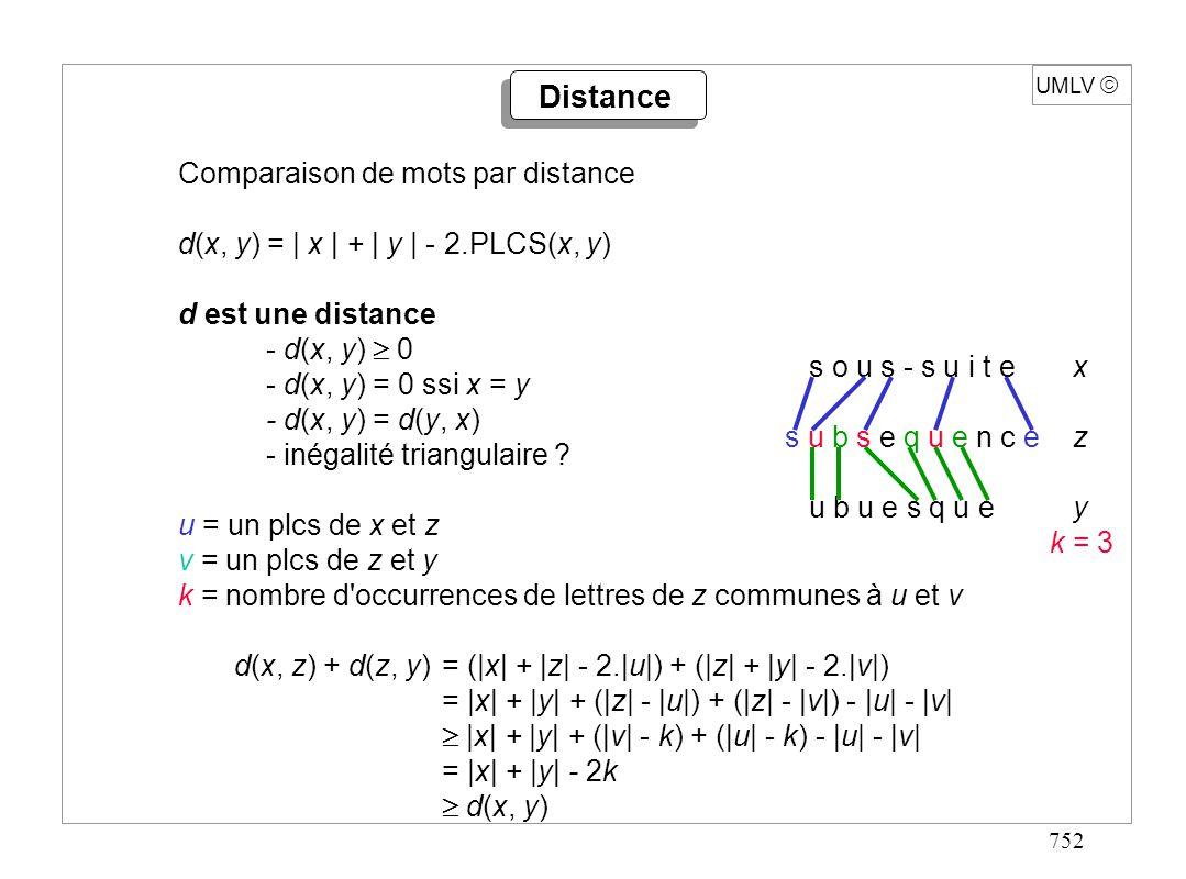 752 UMLV Comparaison de mots par distance d(x, y) = | x | + | y | - 2.PLCS(x, y) d est une distance - d(x, y) 0 - d(x, y) = 0 ssi x = y - d(x, y) = d(
