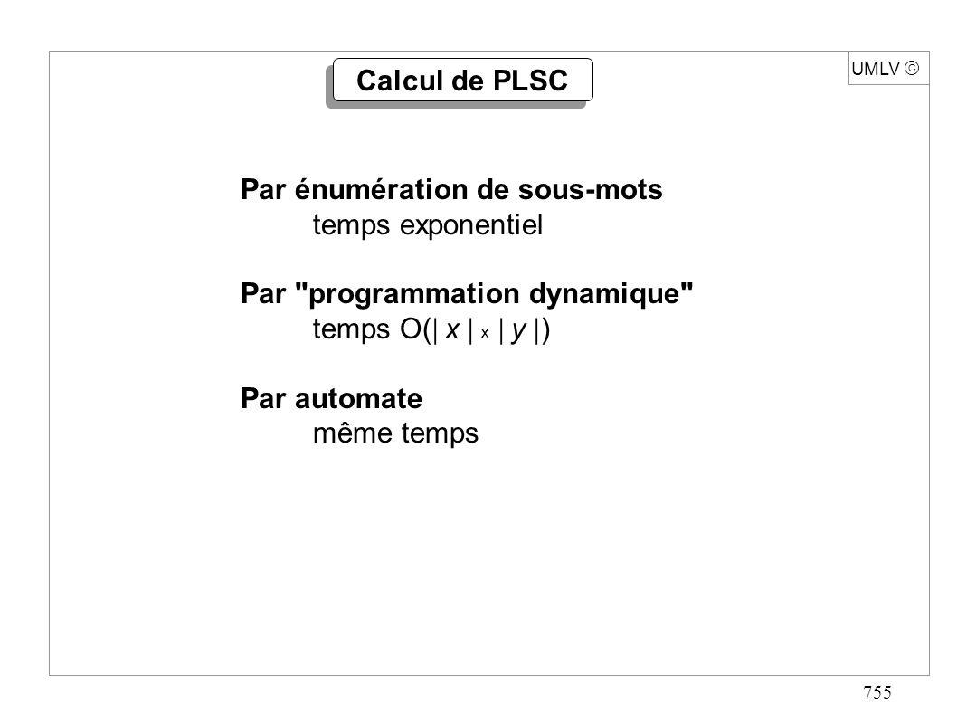 766 UMLV x = x 0 x 1 …x m-1 y = y 0 y 1 …y n-1 Pos[ a ] = { j | y j = a } pour a A Pour i fixé : J [ k ] = { j | PLSC( x 0 x 1 …x i, y 0 y 1 …y j ) = k } entier PLSC(mot x, longueur m, mot y, longueur n){ J[-1] {-1,0,1,…,n-1}; pour k 0 à n-1 faire J[k] ; pour i 0 à m-1 faire pour chaque p Pos[x[i]] en décroissant faire{ k CLASSE(p); si k = CLASSE(p-1) alors{ (J[k],X) PARTAGE(J[k],p); J[k+1] UNION(X,J[k+1]); } retour CLASSE(n-1); } Algorithme