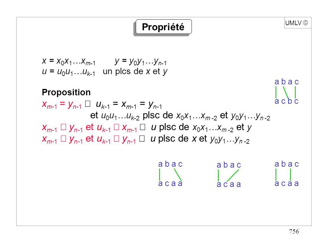757 UMLV Algorithme entier PLSC(mot x, longueur m, mot y, longueur n){ si (m = 0 ou n = 0) alors retour 0 ; sinon si (x[m-1] = y[n-1]) alors retour PLSC(x,m-1,y,n-1)+1 sinon retour max{PLSC(x,m,y,n-1),PLSC(x,m-1,y,n)} } Stupidement exponentiel !