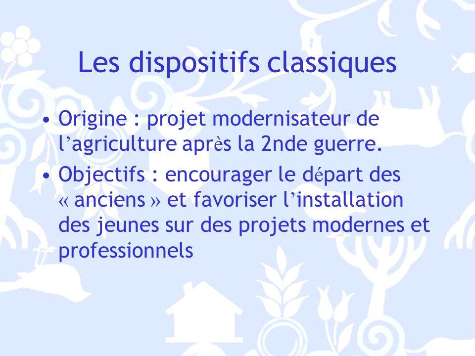 Les dispositifs classiques Origine : projet modernisateur de l agriculture apr è s la 2nde guerre.