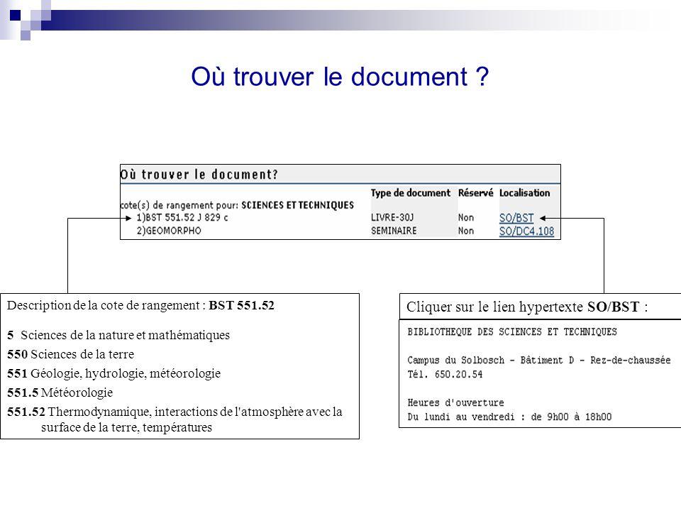 Où trouver le document ? Description de la cote de rangement : BST 551.52 5 Sciences de la nature et mathématiques 550 Sciences de la terre 551 Géolog
