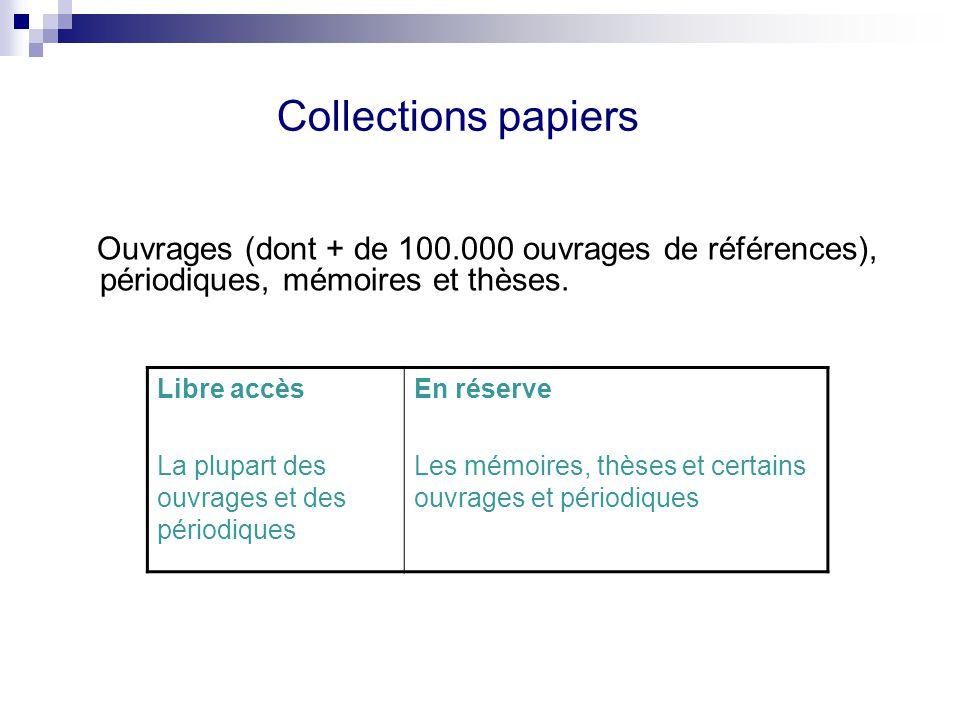 Collections papiers Ouvrages (dont + de 100.000 ouvrages de références), périodiques, mémoires et thèses. Libre accès La plupart des ouvrages et des p