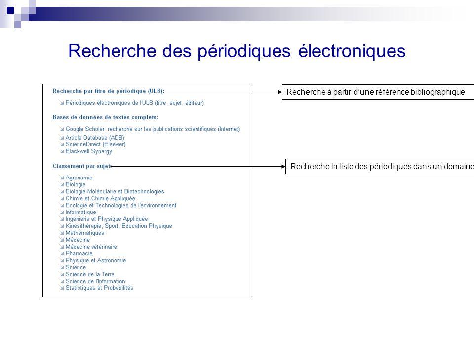 Recherche des périodiques électroniques Recherche à partir dune référence bibliographique Recherche la liste des périodiques dans un domaine