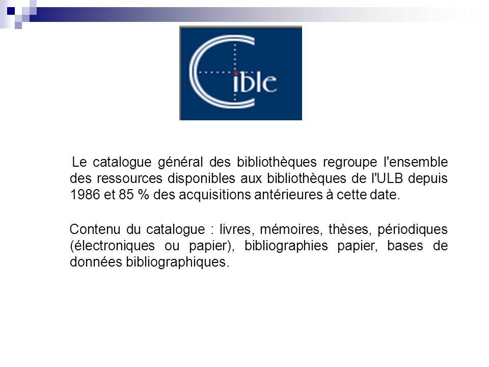 Le catalogue général des bibliothèques regroupe l'ensemble des ressources disponibles aux bibliothèques de l'ULB depuis 1986 et 85 % des acquisitions