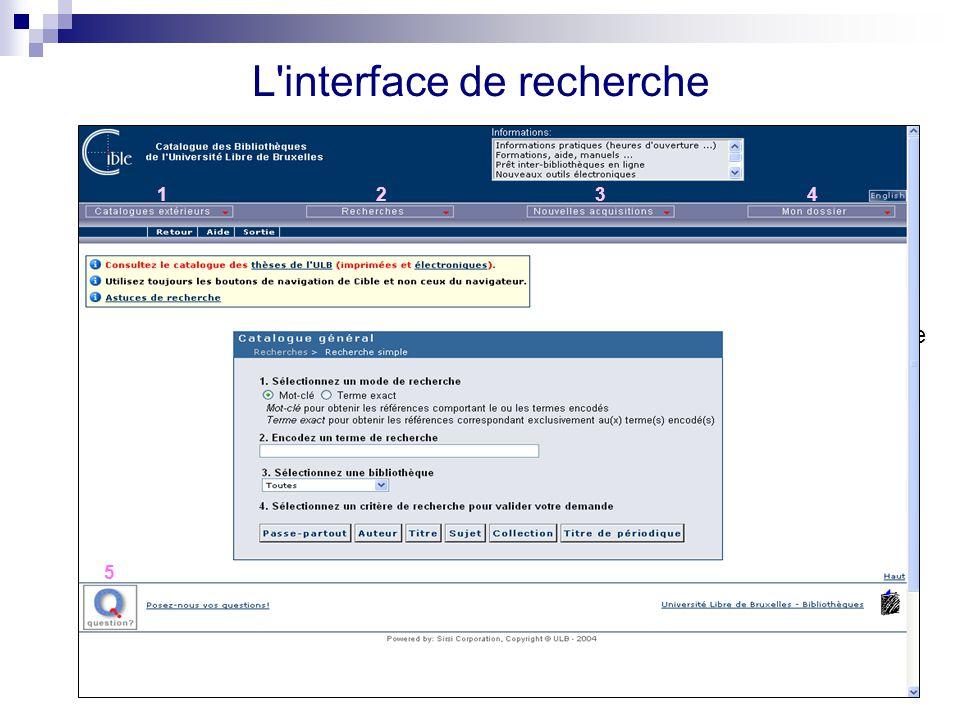 L'interface de recherche 1. Informations 4. Cinq types de recherche 3. Catalogues extérieurs 2. Langues 5. Nouvelles acquisitions 6. Mon dossier 7. Me