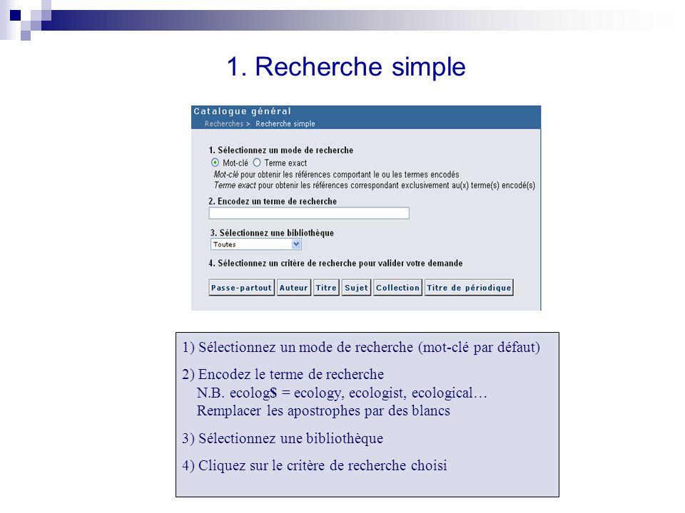 1. Recherche simple 1) Sélectionnez un mode de recherche (mot-clé par défaut) 2) Encodez le terme de recherche N.B. ecolog$ = ecology, ecologist, ecol