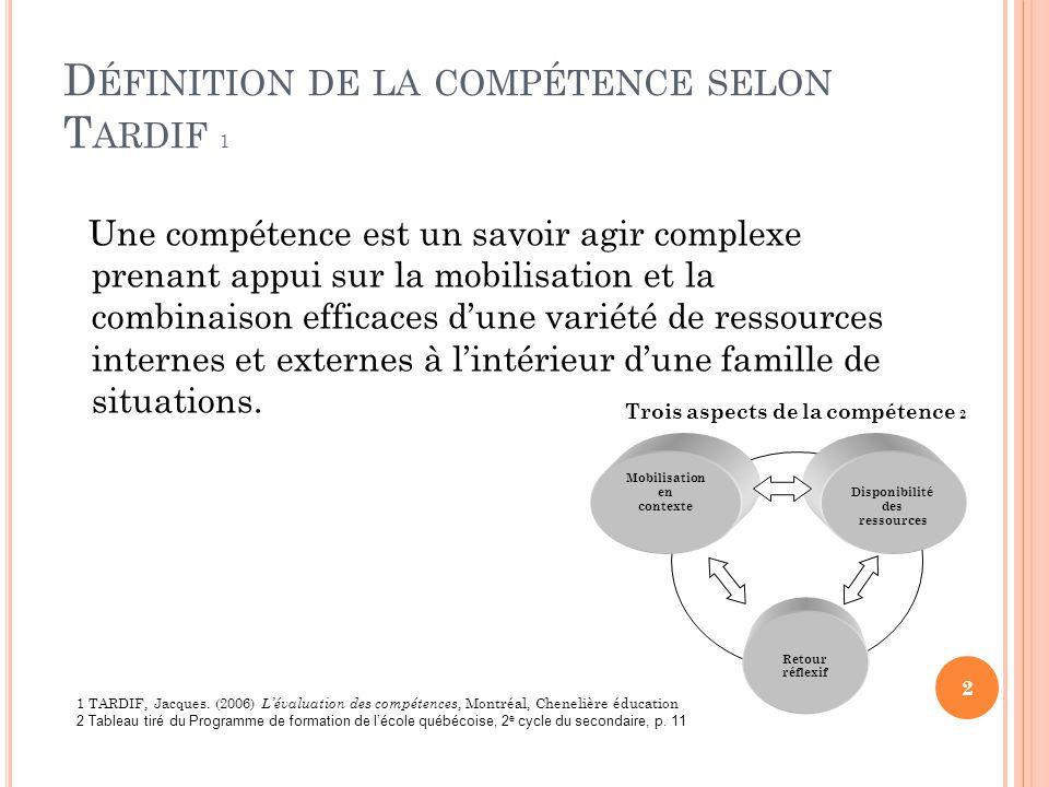 D ÉFINITION DE LA COMPÉTENCE SELON T ARDIF 1 Une compétence est un savoir agir complexe prenant appui sur la mobilisation et la combinaison efficaces dune variété de ressources internes et externes à lintérieur dune famille de situations.