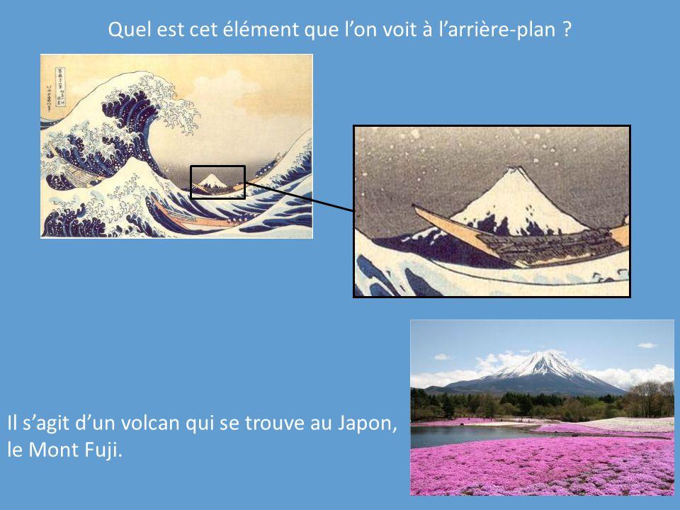 Quel est cet élément que lon voit à larrière-plan ? Il sagit dun volcan qui se trouve au Japon, le Mont Fuji.