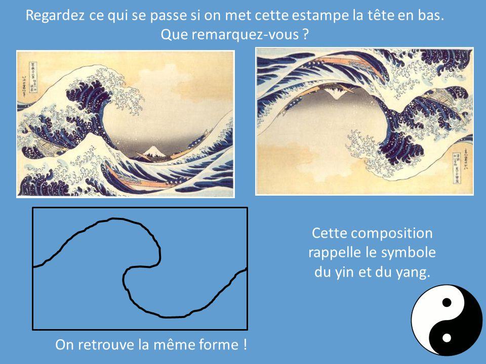 Cette composition rappelle le symbole du yin et du yang. Regardez ce qui se passe si on met cette estampe la tête en bas. Que remarquez-vous ? On retr